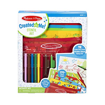 Melissa & Doug Created by Me! Stencil Art Coloring Activity Kit in Storage Pouch -- 170+ Designs, 6 Markers, 2 Crayons, Paper: Toys & Games