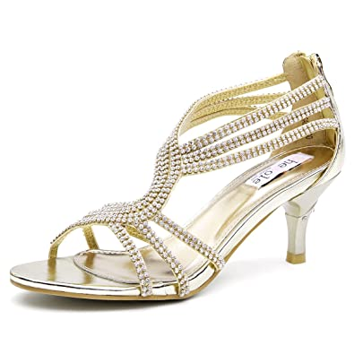 SheSole Womens Metallic Low Heels Sandals Rhinestones Evening Bridal Party Dance Shoes Gold US 6