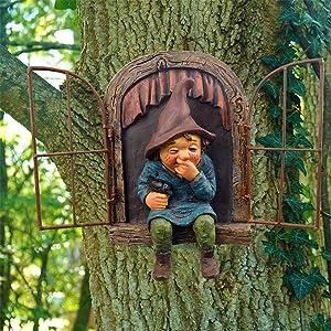 Garden Gnome Statue Elf Out The Door Tree Hugger, Garden Peeker Yard Art unimaginable Tree Sculpture Miniature Garden Decoration