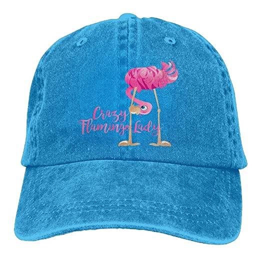 a2d9c56e605 Crazy Flamingo Lady Denim Hat Adjustable Mens Surf Baseball Hats at Amazon  Men s Clothing store