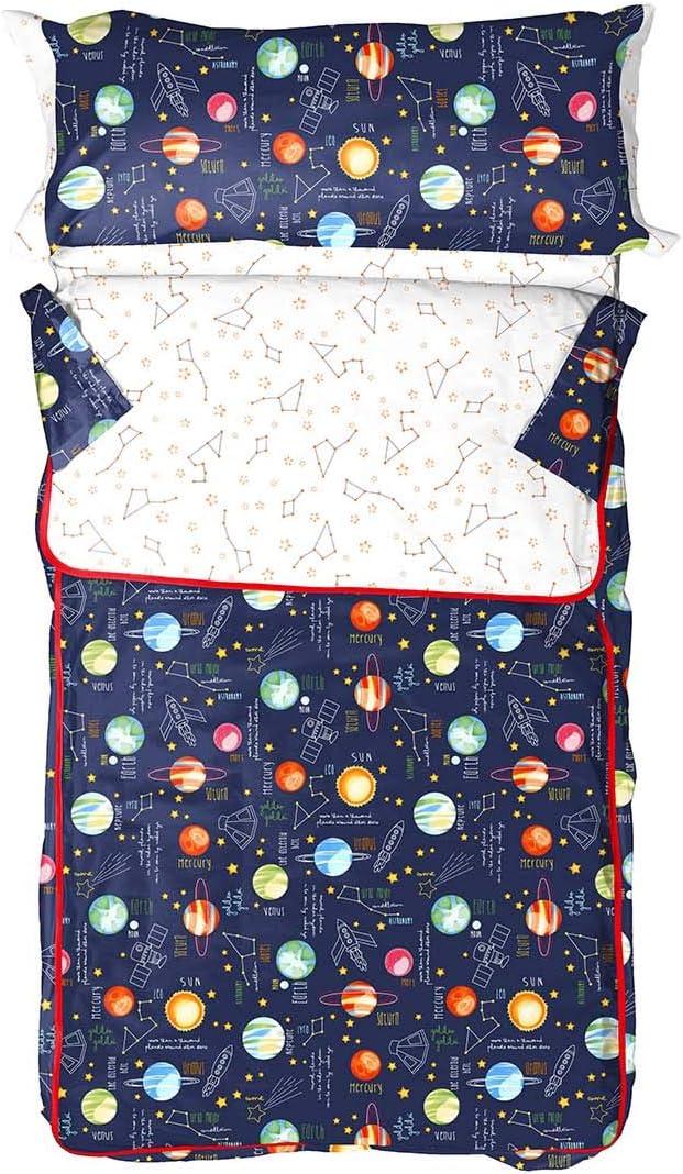 Burrito Blanco Saco Nórdico Infantil 160 con Un Diseño de Planetas de 90x190cm hasta 90x200cm/Saco Nórdico 90 con Cremallera, Colores Naranja y Azul