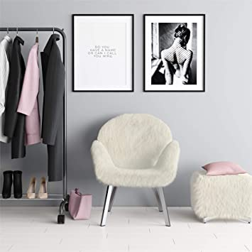 Excellent Amazon Com Cosmoliving Estelle White Faux Fur Accent Chair Alphanode Cool Chair Designs And Ideas Alphanodeonline