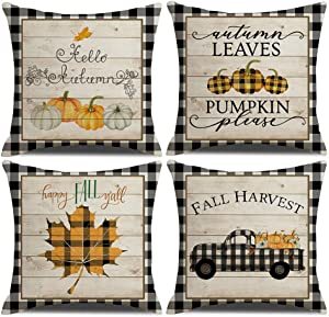 "KACOPOL Fall Decorative Pillow Covers Buffalo Plaids Pumpkin Maple Leaves Fall Harvest Truck Farmhouse Decor Cotton Linen Throw Pillow Case Cushion Cover 18"" x 18"" Set of 4(Fall Buffalo Plaids-4 Pack)"