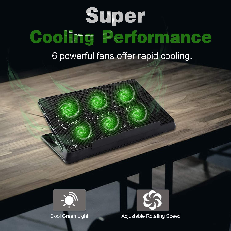 MoKo Laptop Cooler Notebook Cooling Pad Adjustable Speed Cooler Silent Gaming Laptop Radiator with Adjustable Stand Dual USB Ports for 12-15.6 Inch Laptop 6 Fans Black Green LED Lights