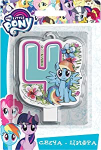 Сandle on a Cake Topper 4Year My Little Pony Must Have Accessories for the Party Supplies and Birthday