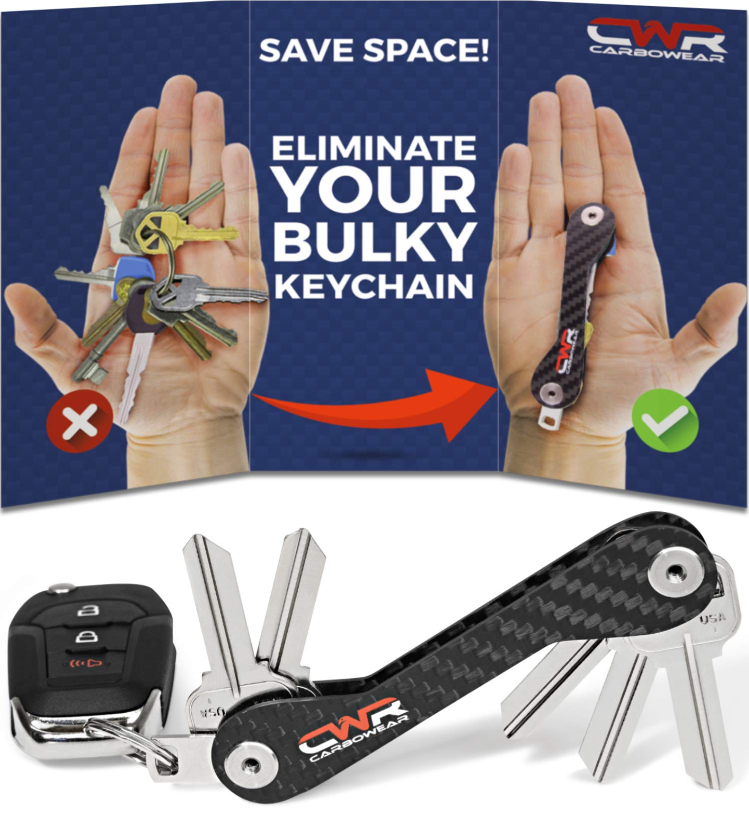 Smart Key Holder Organizer - Loop Piece for Car FOB - Compact Carbon Fiber Keychain up to 22 Keys - Coin Holder, Expansion Pack, SIM and Bottle Opener, Gift Box (Black) by CARBOWEAR