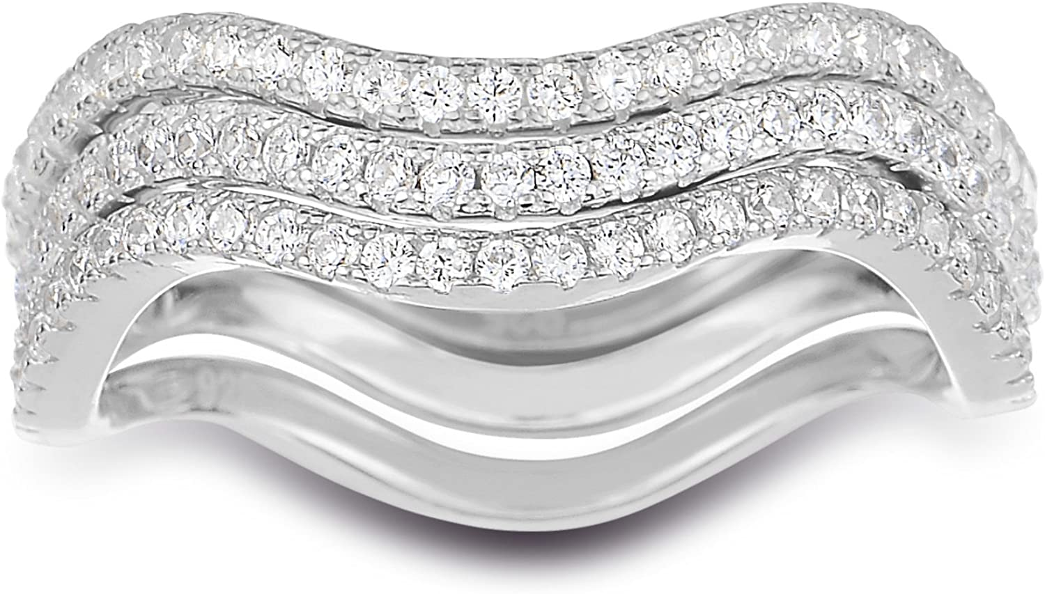 Band Width Spoil Cupid 925 Sterling Silver Cubic Zirconia 3pcs Wavy Stackable Ring Eternity Bands 1.55mm Each