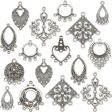 5pcs Tibetan Silver Large Heart Charms Pendants Connectors Bracelet Gift DIY