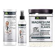 ASUTRA Magnesium Value Bundle–5 Items: Pure Zechstein Magnesium Oil Spray, 2 4oz. Bottles; Magnesium Chloride Flakes, 2 2lb. Jars + Free E-Book