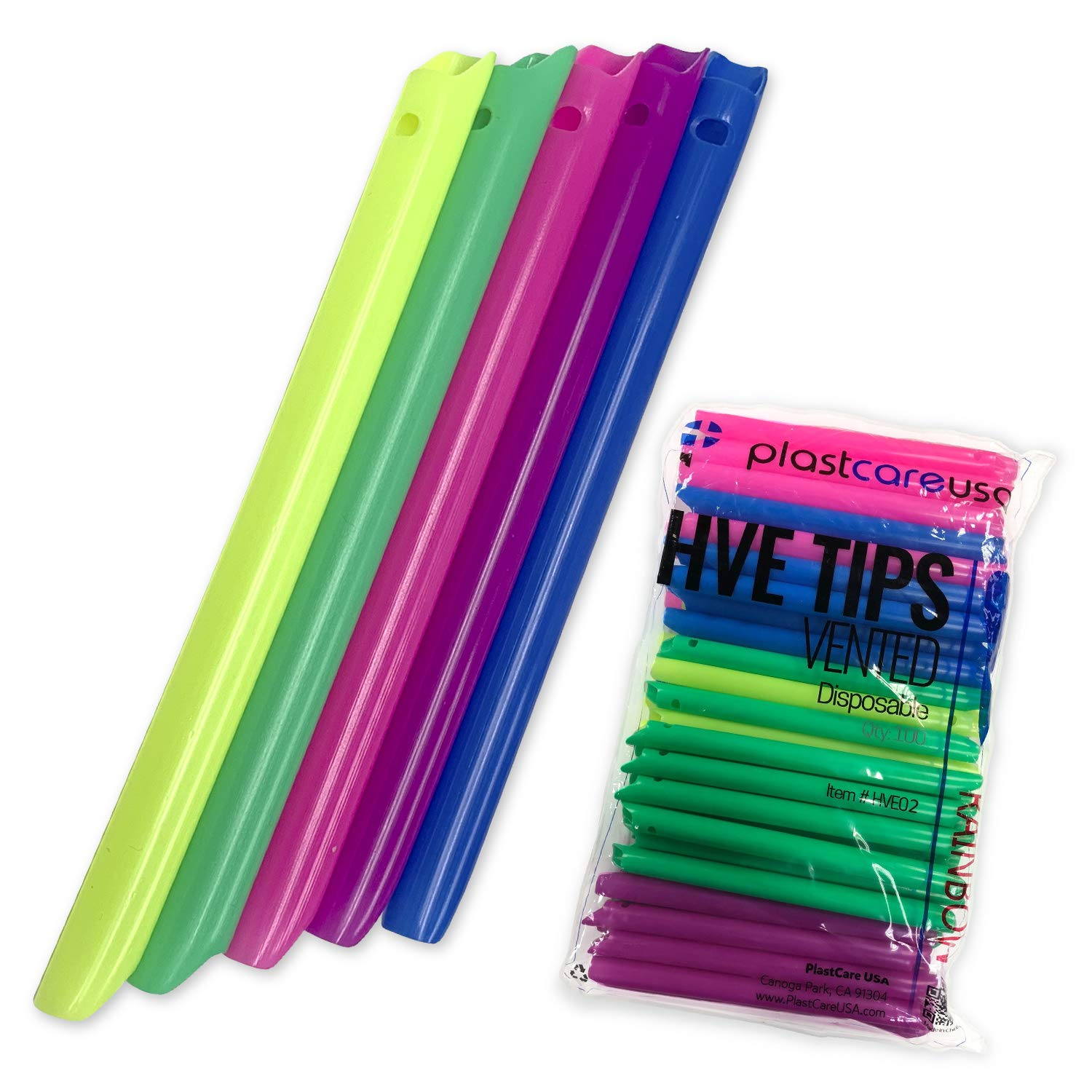 1000 HVE Rainbow Assorted Evacuation Suction Dental Tips, Vented, 10 Bags