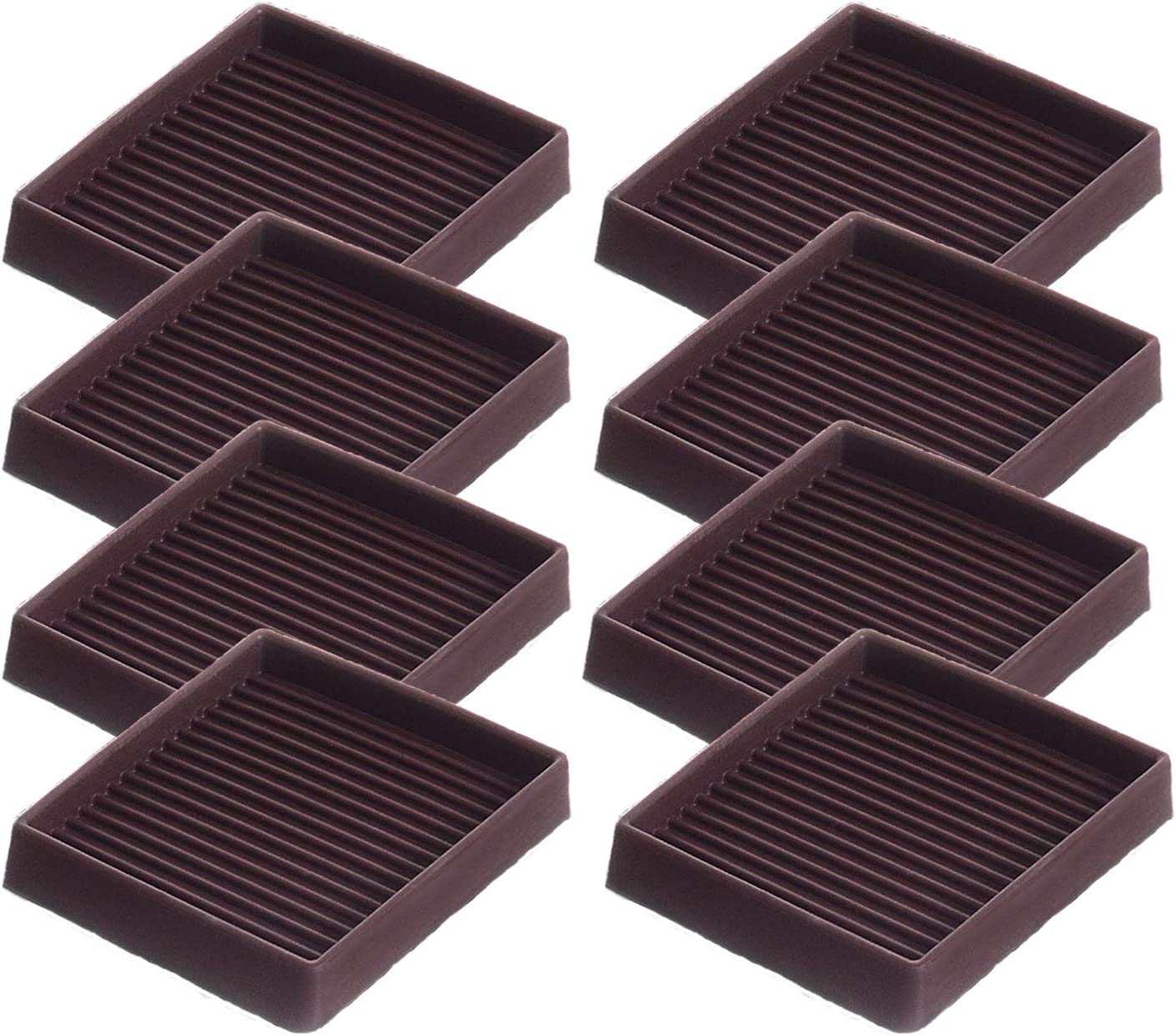3X3 Square Rubber Furniture Caster Cups with Anti-Sliding Floor Grip to Protect Floors,Best Furniture Caster Cups, Anti-Sliding Protectors for All Floors & Carpet, Prevents Scratches,Brown (Set of 8)