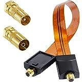 HB Digital SAT Fensterdurchführung High-Quality GOLD + Antennen Adapter Set VERGOLDET- IEC Antennen-Stecker (männlich) und IEC Antennen-Buchse (weiblich) auf F-Stecker (SAT, männlich) für Fenster und Türen Ultra Flach
