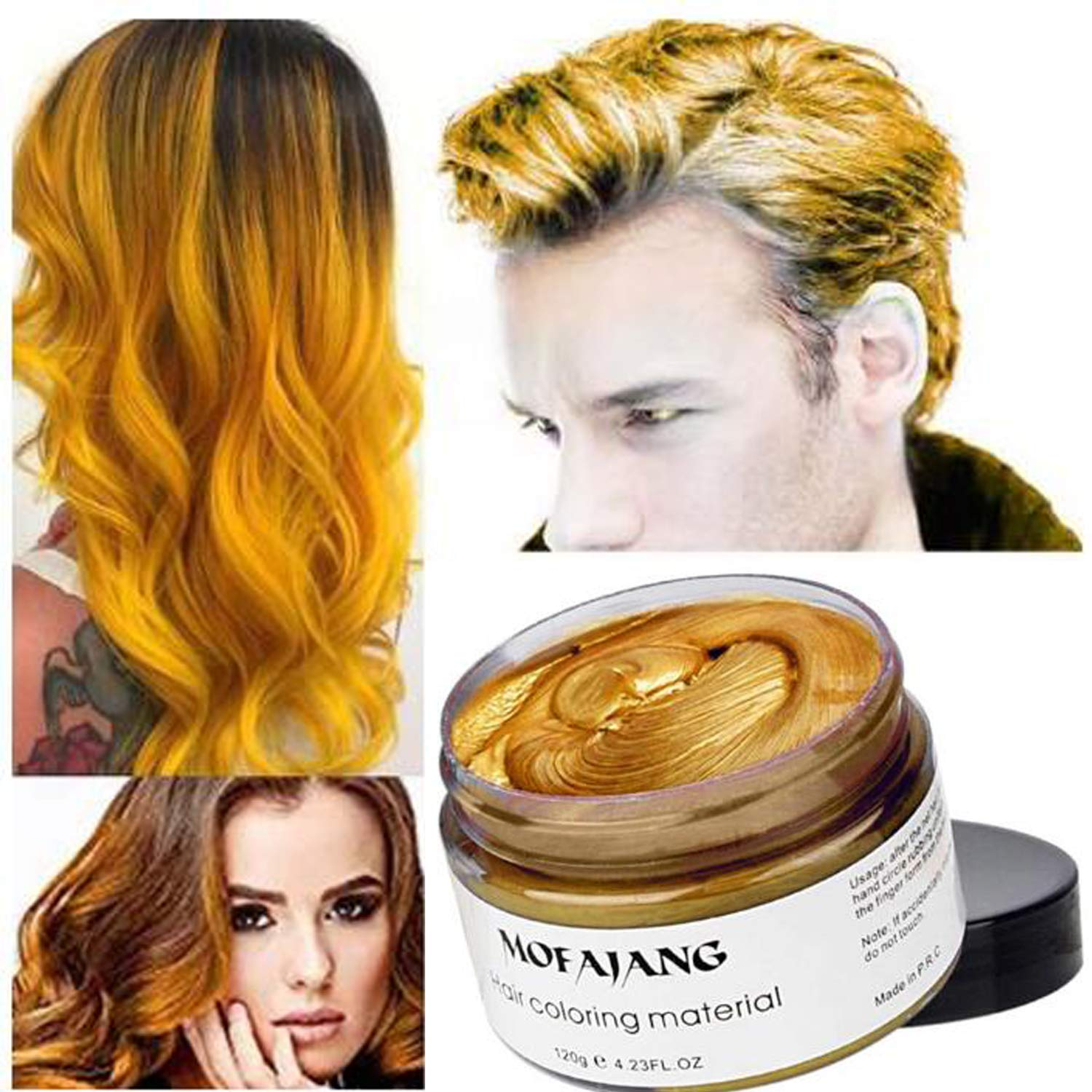 AZONBOX Hair Dye and Hair Coloring Temporary Hair Dye Wax, Instant Hairstyle Natural Hair Coloring Wax Material Disposable Hair Styling Clays Ash for Cosplay,Party,Masquerade, Halloween.etc by AZONBOX
