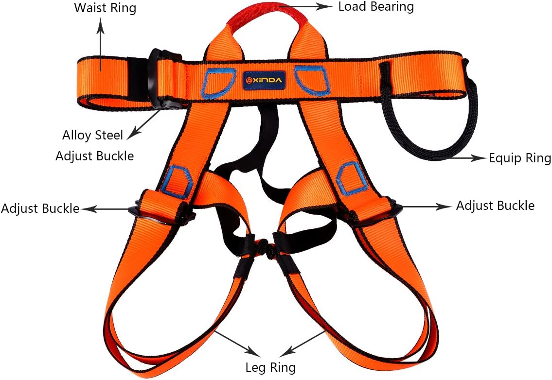 1 Pack Fire Rescue Mountaineering UCEC Climbing Harness Higher Level Caving Orange Half Body Safety Belt for Rock Climbing Unisex Rappelling