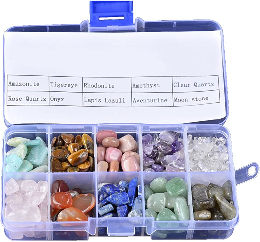 Piedras de cuarzo de cristal con caja de 210 g, mezcla de 10 piedras naturales tumbled piedras preciosas para decoración de acuario salud, collar mini tamaño 120 + piezas