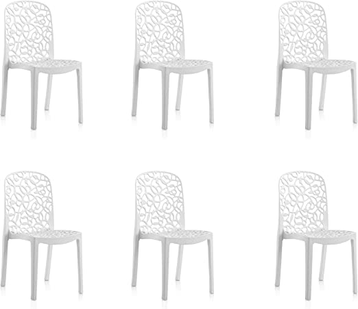 Shaf Pack de 6 sillas de Exterior/Interior Flora, Blanco: Amazon ...