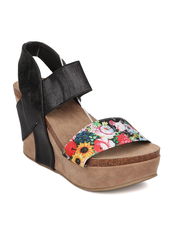 Heartthentic Tricia-10 Women Mixed Media Floral Platform Wedge Sandal HA98 B07177R5NZ 8 M US|Black Mix Media
