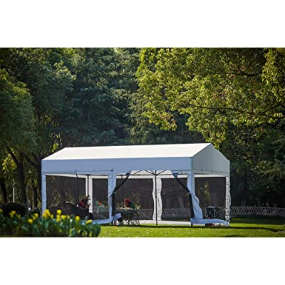 OUTDOOR LIVING SUNTIME 10' X 20' Easy Pop Up Canopy Party Tent Heavy Duty Garage Car Shelter, White-with Removable Sidewalls : Garden & Outdoor