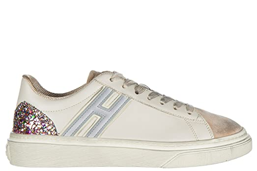 Hogan women's shoes leather trainers sneakers h340 white US size 5  HXW3400J260HSB0ZPL