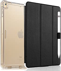 Valkit iPad Pro 12.9 Case 2017/2015 (Old Model,1st & 2nd Gen) - iPad Pro 12.9 Inch Cover Smart Folio Stand Protective Heavy Duty Rugged Armor Cases with Auto Wake/Sleep & Pencil Holder, Black