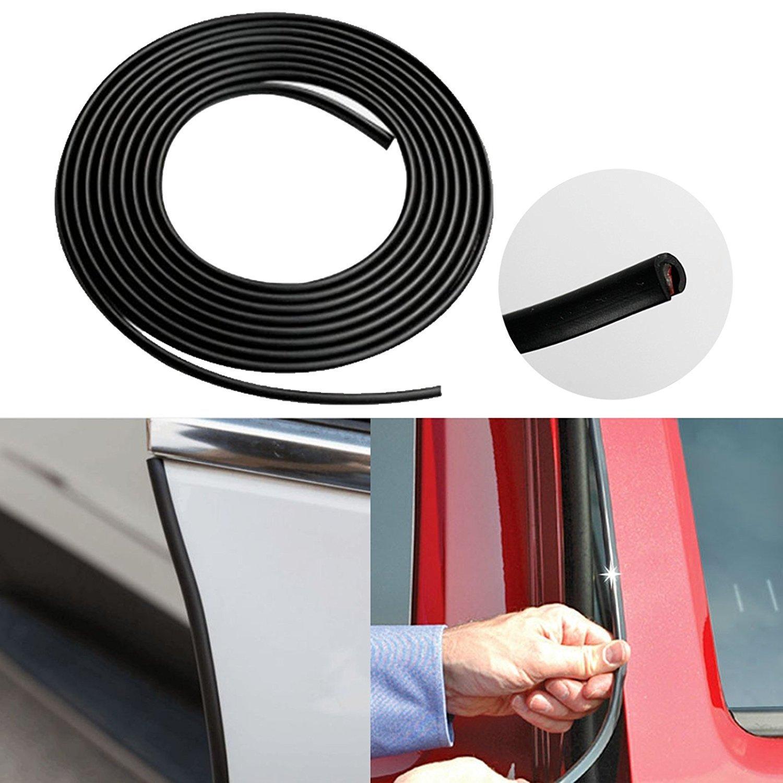 14.7 Feet Xotic Tech JDM Black Silver Rubber Body Side Door Edge Bumper Guard Protection Strip Sticker Xotic Tech Direct