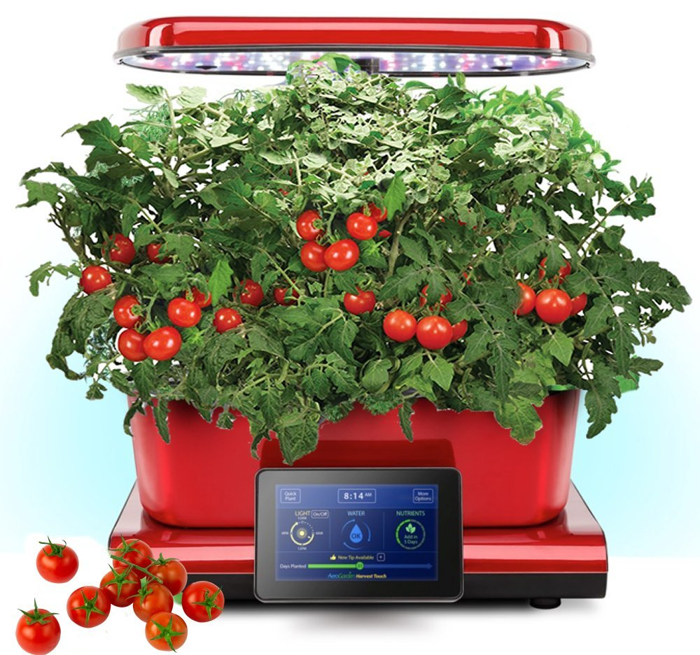 Harvest Touch by Aerogarden Red Stainless Steel Indoor Garden with Cherry Tomato Kit (See other available colors and options)