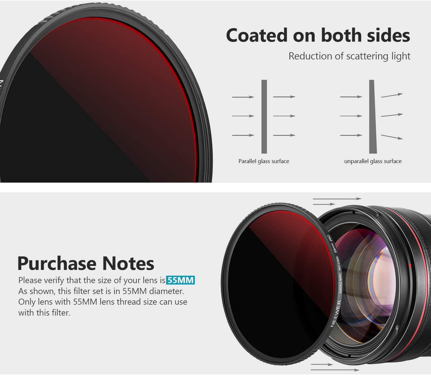 Water//Oil//Dust Proof Neutral Grey ND Lens Filter for Camera Lens 10 Stop Neutral Density ND Filter Multi-Layer Coating Neewer 55mm PRO ND1000 Filter Optics Glass Ultra-Thin Frame Design