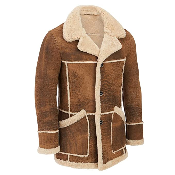 d5738b0d15 Wilsons Leather Mens Marlboro Shearling Leather Jacket XL Tan Combo ...