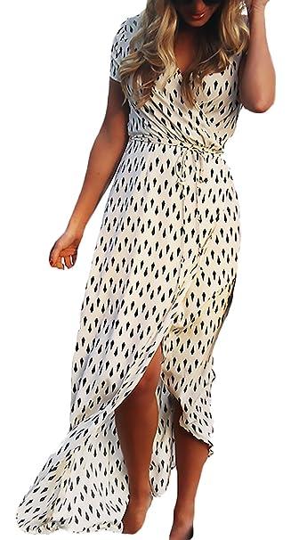 Vestidos Largos Mujer Verano Playa Elegantes Casual Vestidos Estampados Ropa Marcas Corta V Cuello Dobladillo Abiertas Irregular Con Cinturón Boho Vestidos ...