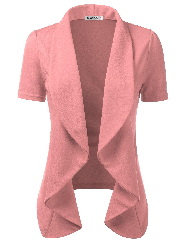 Doublju Womens Lightweight Thin Short Sleeve Open Front Blazer with Plus Size Mauve X-Large