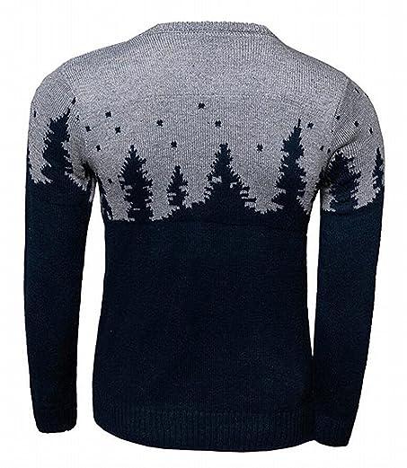 Rising On Fashion Mens Round Crew Neck Pattern Knit Christmas