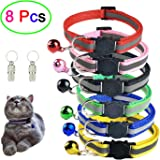 Set of 8 Pcs, 6 Pcs Cat Collars with Bell and 2 Pcs Pet ID Tag Boxes, Breakaway Cat Collar with Bell, Reflective Nylon Cat Collar, Pet ID Tag Box
