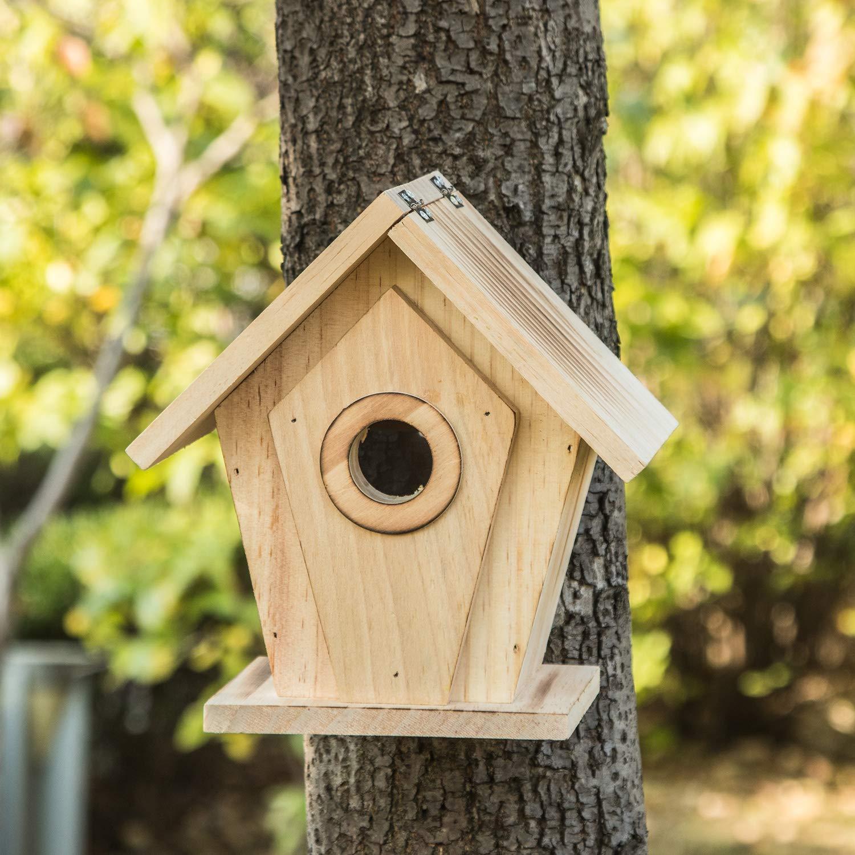 Birdhouse Vantage View Wooden Bird House Pet Cottage for Outdoor Garden Patio or Indoor Decorative,Toasted