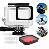 Waterproof Housing for GoPro Hero 5 Action Camera Aoyooh Protective Case Black with Switchable Red Lens Filter + 12 Pcs Anit fog inserts - 45M Underwater Diving (Housing for GoPro Hero 5)