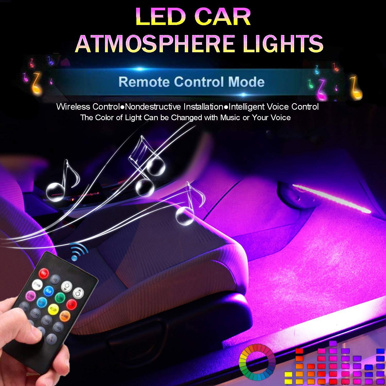 Car LED Strip Light, EJ's SUPER CAR 4pcs 48 LED DC 12V Multicolor Music Car Interior Lights LED Under Dash Lighting Atmosphere Neon Lights Kit with Sound Active Function and Wireless Remote Control… EJ's SUPER CAR
