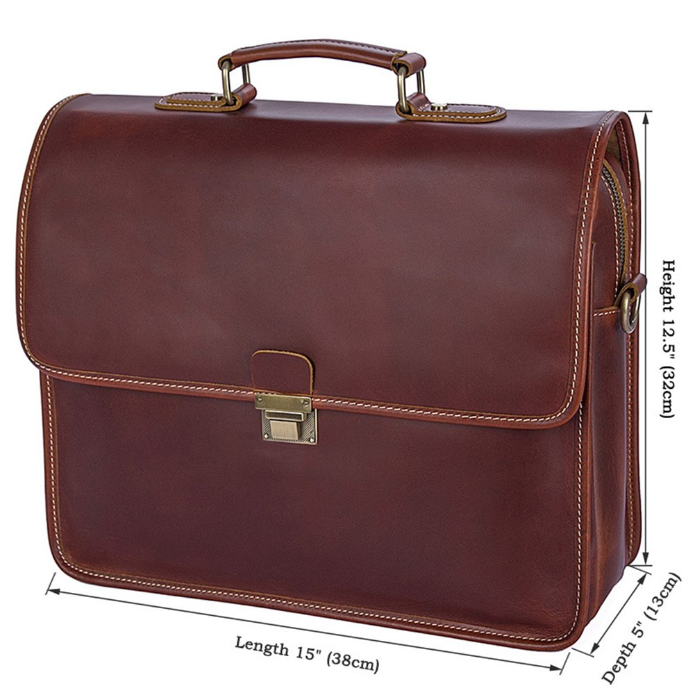 Genda 2Archer Men Genuine Leather Briefcase 15-inch Laptop Tote Bag by Genda 2Archer (Image #3)