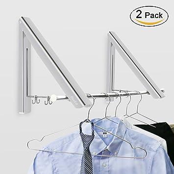 Folding Coat Racks Amazon Becko Wall Mounted Clothes Hanger Aluminum 83