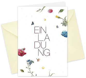 20 Karten 20 Umschläge Klappkarten Einladungskarten Blüten Din A6 Im Set Einladung Zur Hochzeit Taufe Geburtstag Konfirmation Kommunion