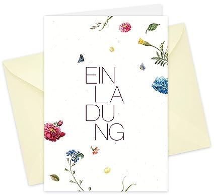 20 tarjetas y 20 sobres: tarjetas de invitación plegables - Flores ...