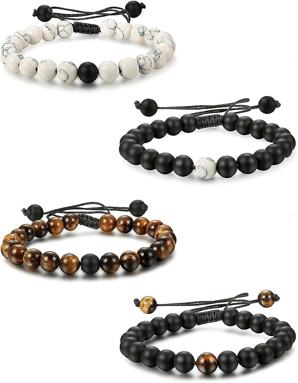 Besteel 2-4pcs Pulsera de Perlas de Piedra para Hombres Mujeres Pulseras relación Trenzada de Piedra Natural Perlas de 8 mm Ajustable