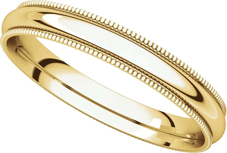 Solid 14k Yellow Gold Wedding Band Plain Milgrain Ring Polished Finish Regular Fit, 3 mm Size 11.5