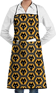 HiEng Wolverhampton Wanderers FC Chefs Apron For Restaurant Kitchen Cooks BBQ Grill Home With Pockets