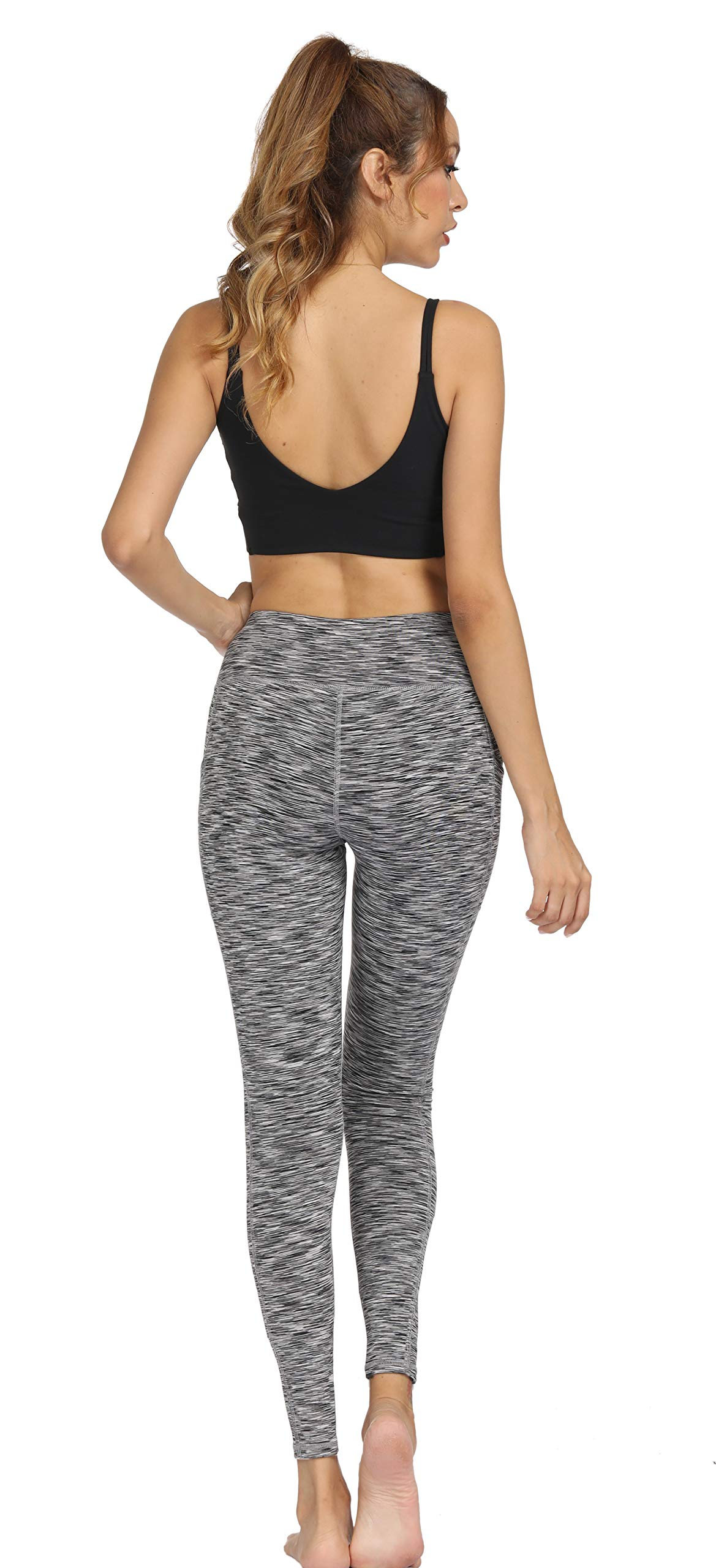 Fengbay High Waist Yoga Pants, Pocket Yoga Pants Tummy Control Workout Running 4 Way Stretch Yoga Leggings (X-Small, 1554 Gery) by Fengbay (Image #5)