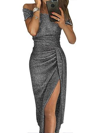 ae2f50a515 Lovezesent Formal Dresses for Women Evening Elegant Off Shoulder Short  Sleeve Ruched Metallic High Slit Cocktail