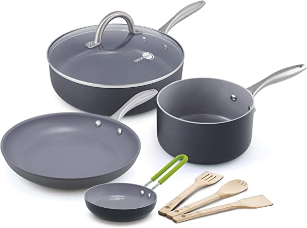 GreenPan Lima 8pc Ceramic Non-Stick Cookware Set Renewed