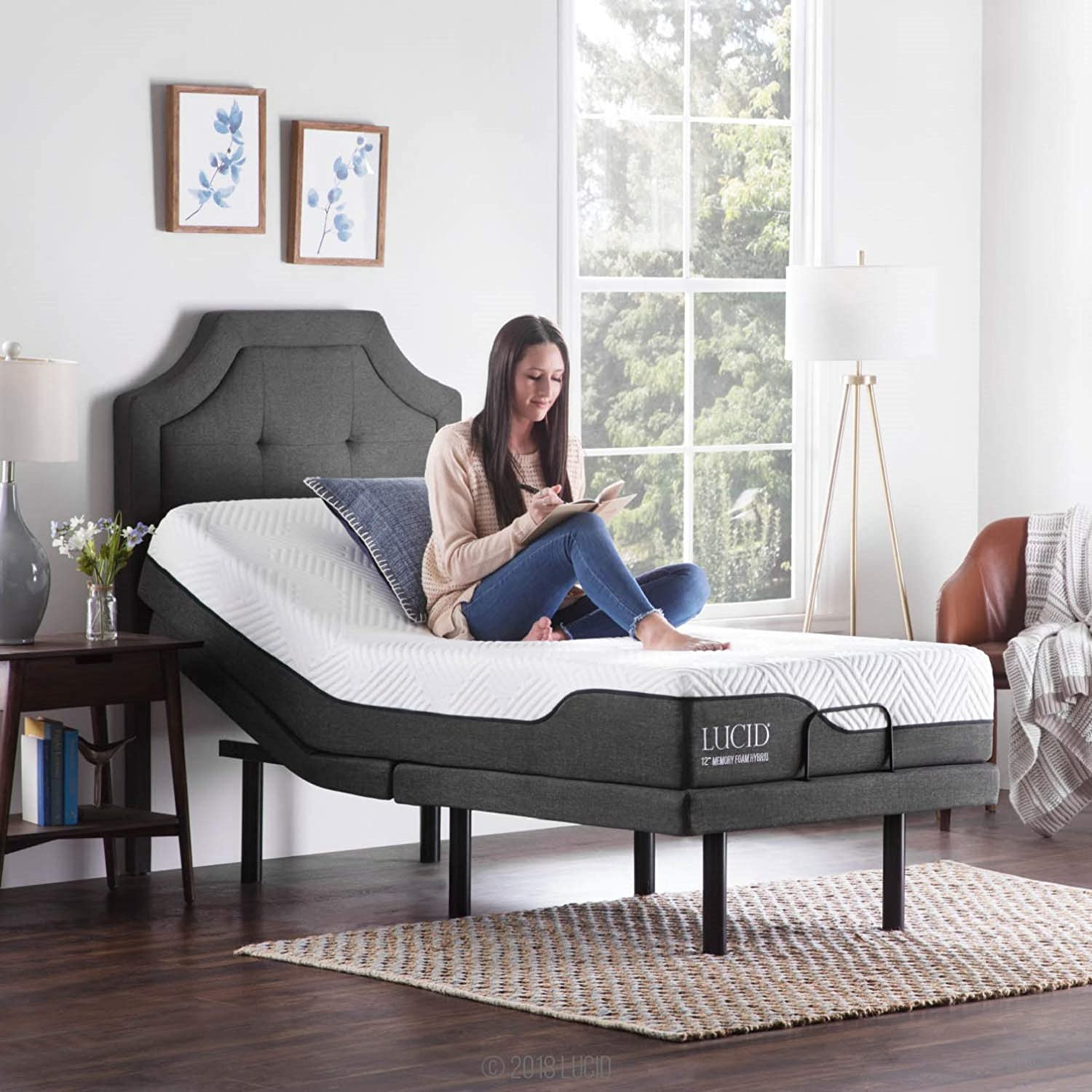 LUCID L5 Adjustable Bed Base with LUCID 5 Inch Memory Foam Hybrid  Mattress - Twin XL
