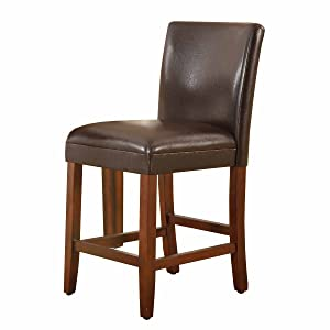 HomePop Parsons Leatherette Counter Height Chair 24-inch, Brown Leather