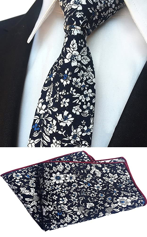 MOHSLEE Men's Skinny Handkerchief Tie Cotton Floral Necktie & Pocket Square Set qz372