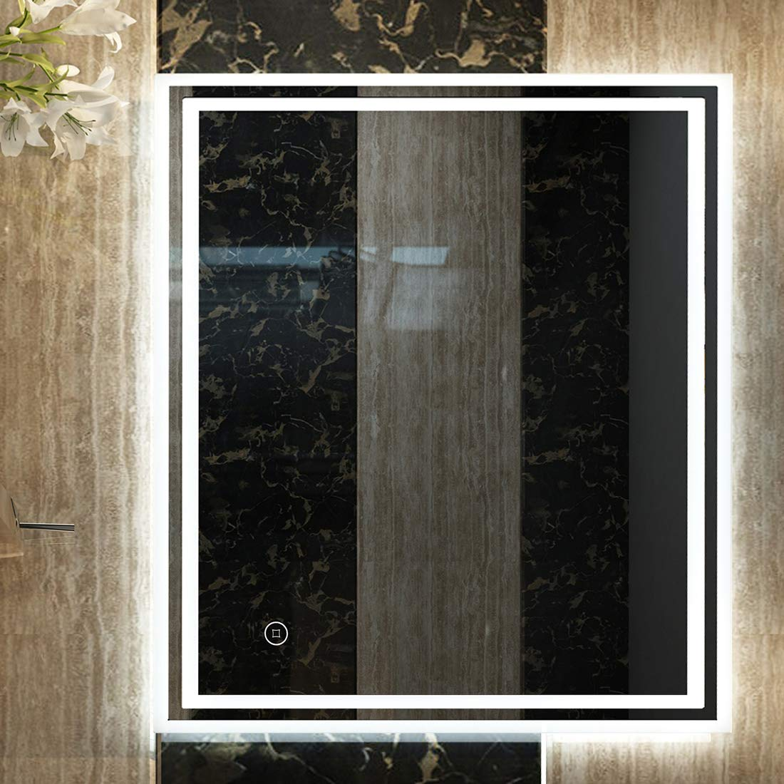 Duschdeluxe Miroir de Salle de Bain LED avec /éclairage Blanc Chaud 50x70cm mit Touchschalter Stil C