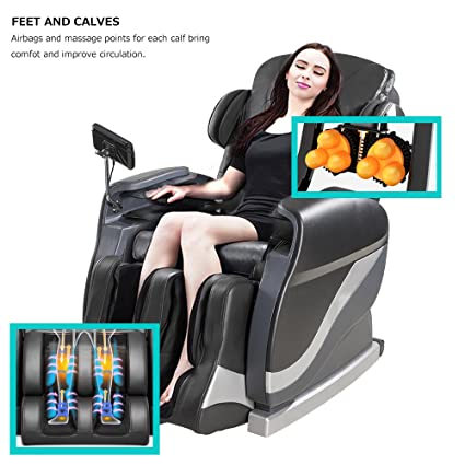 Merax Full Body Massage Recliner Chair 8-Massaging Programs Electric Leather Lounge Chair Massage Chair, Black